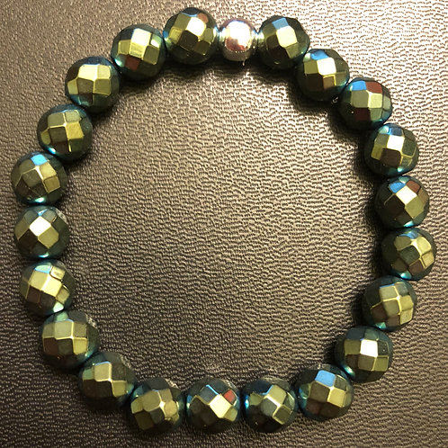Faceted Metallic Green Yellow Hematite Healing Bracelet