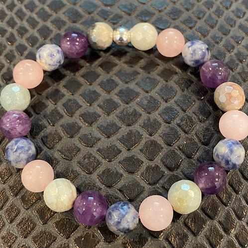 Faceted Amazonite, Sodalite, Rose Quartz and Amethyst Healing Bracelet