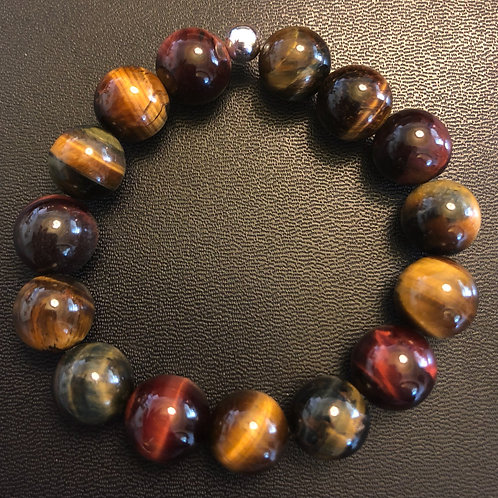 12mm Multicolored Tiger Eye Healing Bracelet