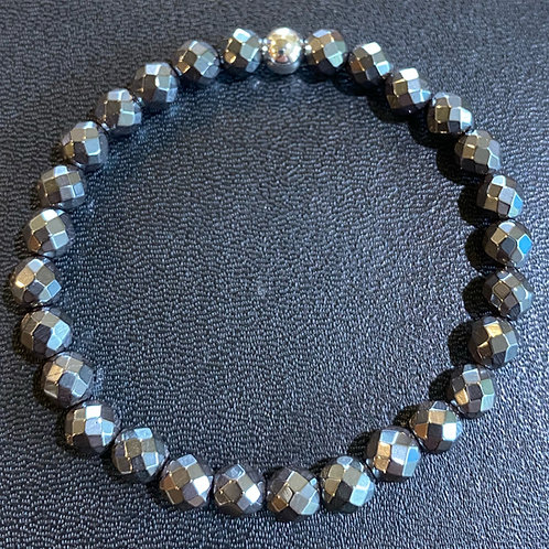 6mm Faceted Hematite Healing Bracelet