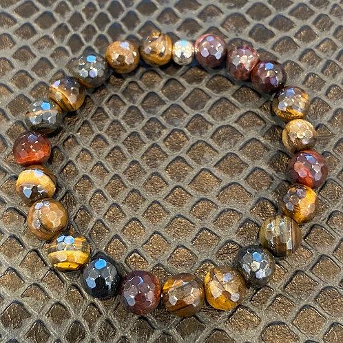 Faceted Multicolored Tiger Eye Healing Bracelet