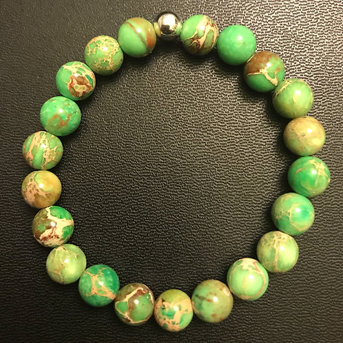 Green Sea Sediment Jasper Healing Bracelet