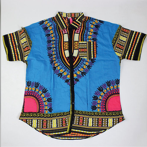 Turquoise Dashiki Button Up