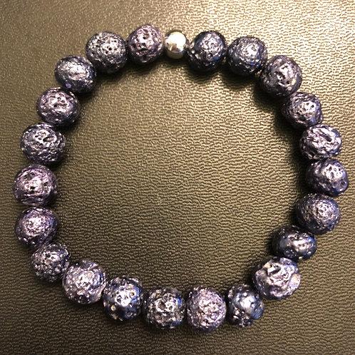 Metallic Purple Lava Stone Healing Bracelet