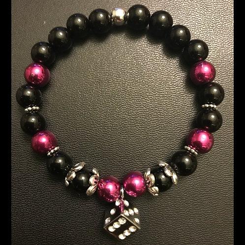 Pink Hematite & Onyx Dice Energy Healing Bracelet