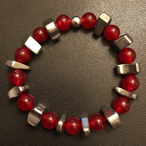 Red Jade and Hematite Healing Bracelet