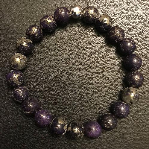 Dark Purple Pyrite Healing Bracelet