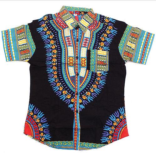 Black/Turquoise Dashiki Button Up