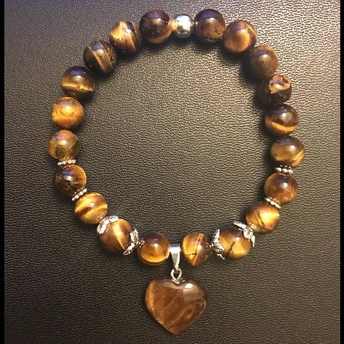 Tiger Eye Heart Charm Bracelet