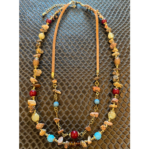 Multi-Crystal Leather Strap Necklace