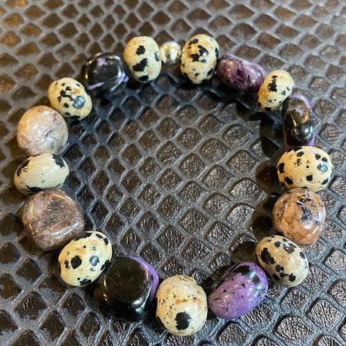 Charoite & Dalmatian Jasper Nugget Healing Bracelet