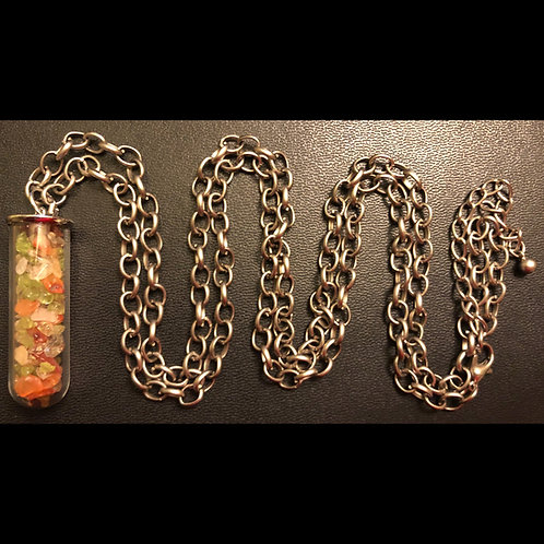 Mulit-Stone Glass Capsule Necklace