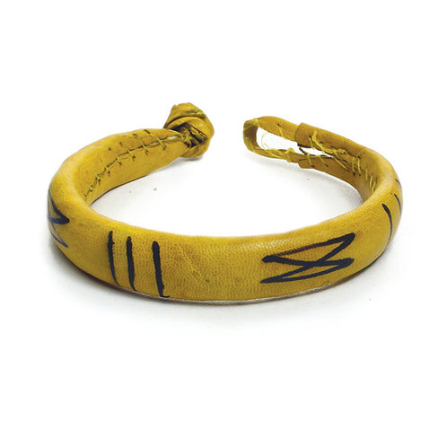 Geometric Yellow Leather Bracelet