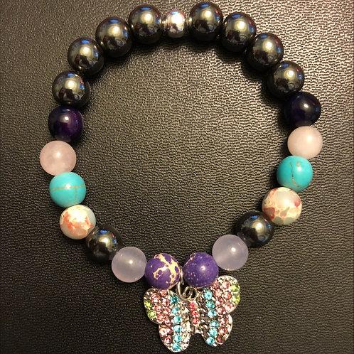 Multi Semi-Precious Stone Butterfly Healing Bracelet