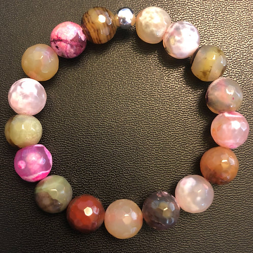 10mm Faceted Agate Healing Bracelet
