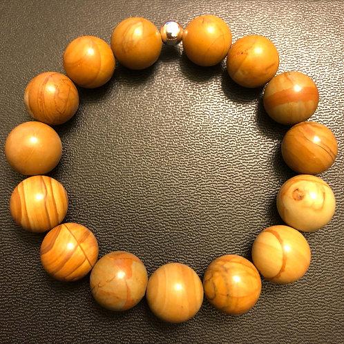 12mm Wood Grain Jasper Healing Bracelet