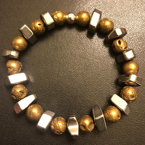 Silver Hematite and Gold Crystalloid Agate
