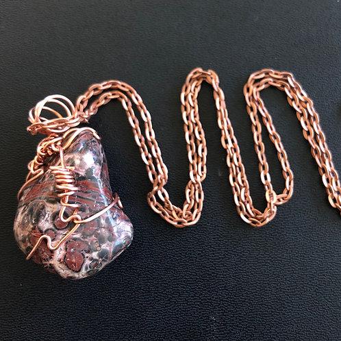 Leopard Skin Jasper and Copper Necklace