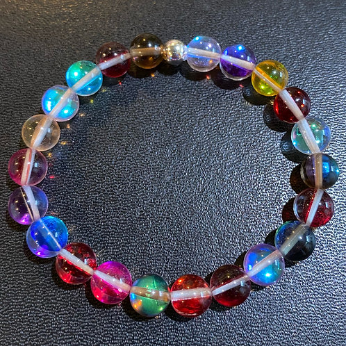 Multicolored Mystic Aura Quartz Healing Bracelet