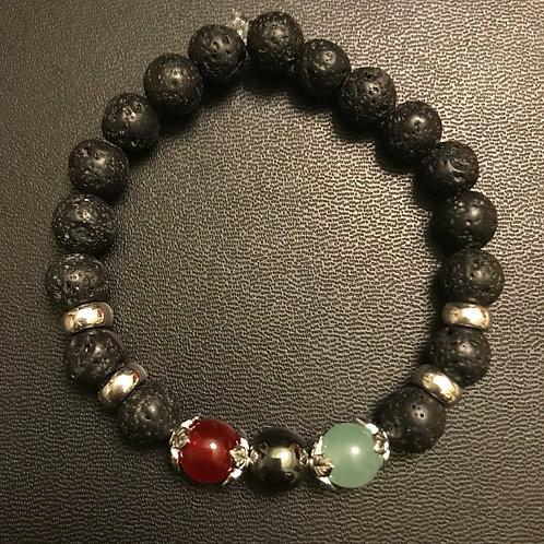 RBG Jade, Hematite & Lava Rock Bracelet