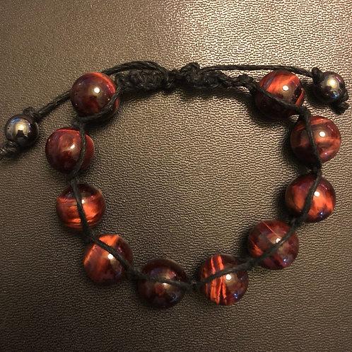 Red Tiger Eye Hemp Shamballa Bracelet