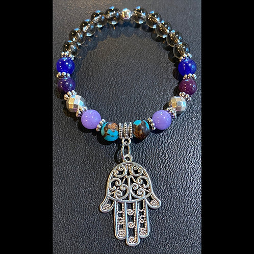 Multi-Stone Hamsa Buddha Healing Bracelet