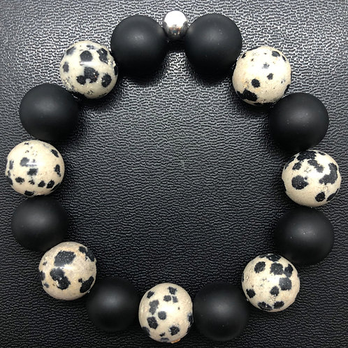 12mm Matte Onyx and Dalmation Jasper Healing Bracelet