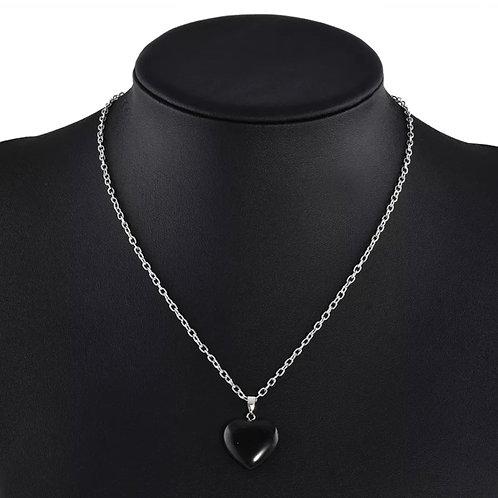 Onyx Heart Charm Necklace