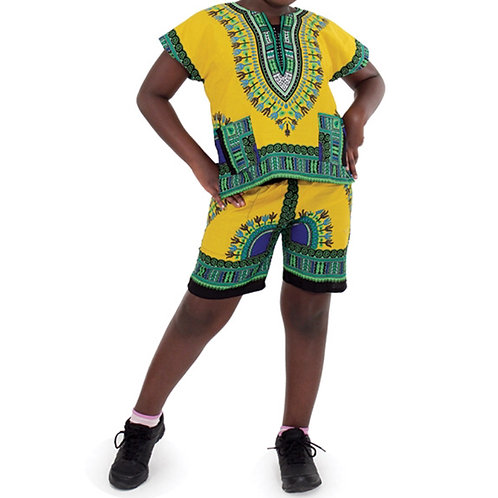 Yellow Child Dashiki and Shorts Set