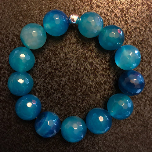 14mm Blue Faceted Agate Healing Bracelet