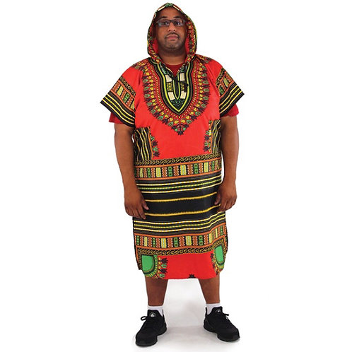 Red Long Hooded Dashiki (Unisex)