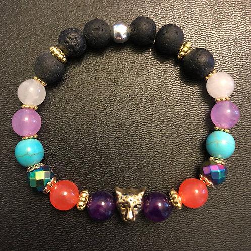 Jade, Hematite, Turquoise, Agate & Lava Stone Gold Leopard
