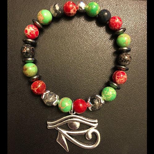 RBG Sea Sediment Jasper & Hematite 3rd Eye Healing Bracelet