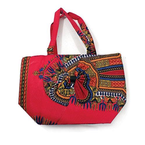 Fuchsia Dashiki Bow Tie Bag