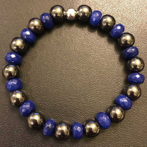 Hematite and Blue Rondelle Jade Healing Bracelet