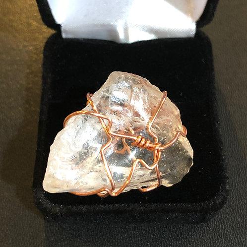 Clear Quartz and Copper Ring
