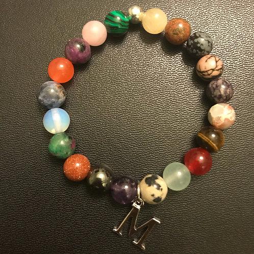 Letter Initial Multi-Stone Healing Bracelet