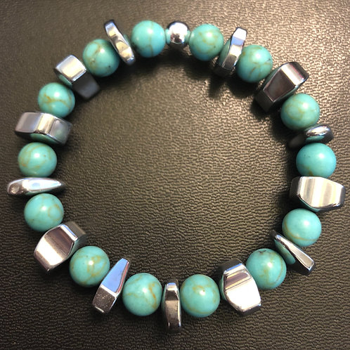 Turquoise and Hematite Healing Bracelet