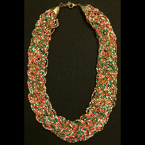 Coral Muticolored Beaded Necklace