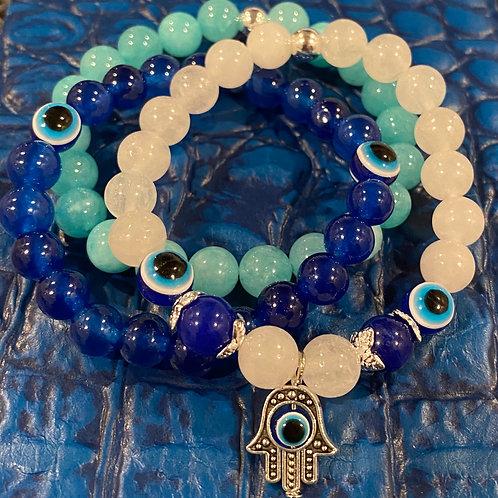 Evil Eye Jade & Agate Healing Bracelets Bundle