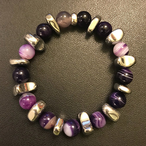 Purple Striped Agate and Hematite Bracelet