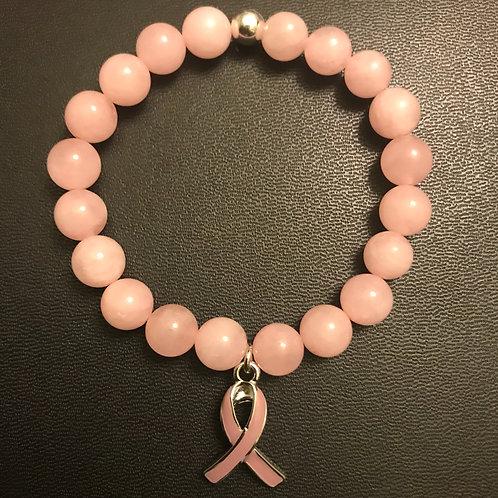 Rose Quartz Cancer Awareness Bracelet