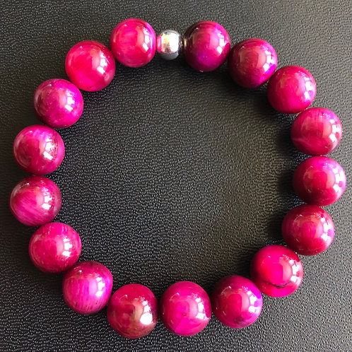 10mm Magenta Tiger Eye Healing Bracelet