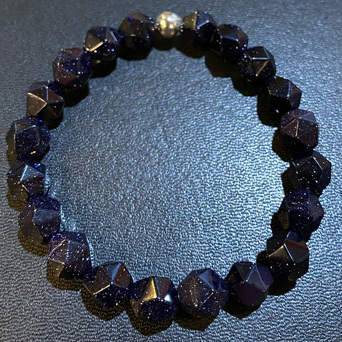 Diamond Cut Blue Sandstone Healing Bracelet
