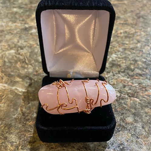 Rose Quartz and Copper Ring