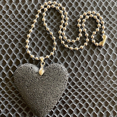 Lava Stone Heart Necklace