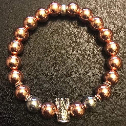 Rose Gold Hematite Silver Crown Healing Bracelet