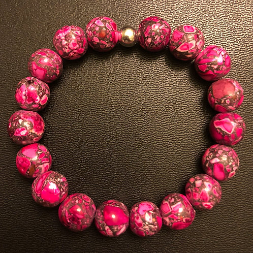 10mm Pink Howlite Healing Bracelet