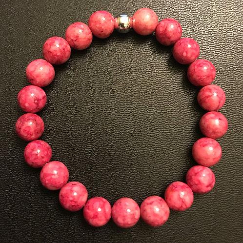 Pink Fossil Stone Healing Bracelet