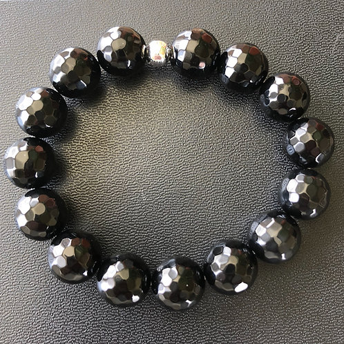 12mm Faceted Black Agate Healing Bracelet
